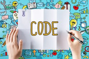 Code text with hands and colorful illustrations